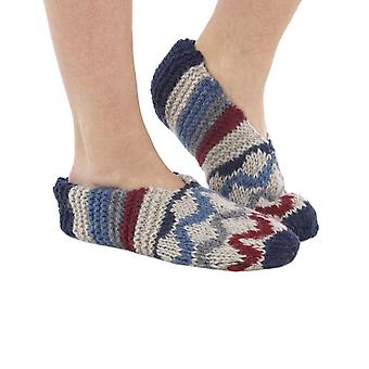 Fireside fleece-lined wool slipper socks in navy | Handmade by KuSan