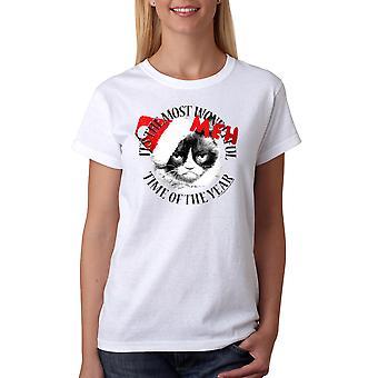 Camiseta divertida blanca de la mujer gato gruñón gruñón Meh