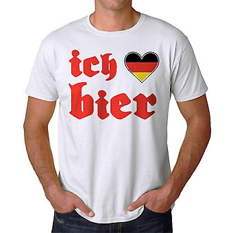Ich Liebe Bier German Love Beer Graphic Men's White T-shirt