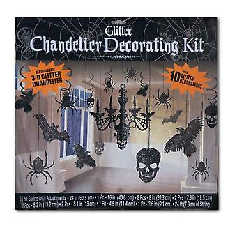 Black Halloween decoration Hängedeko 3D glitter decoration set