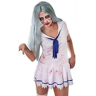 Bnov Zombie Lady peruka długie szaro zielony