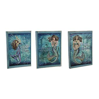 Blue Bedazzled Set of 3 Lined Paper Mystical Mermaid Journals