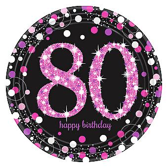 Amscan Prism Pink 80th Birthday Celebration Plates (Pack Of 8)