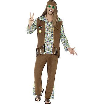 60's Hippie Costume, Multi-Coloured, with Trousers, Top, Waistcoat, Medallion & Headband