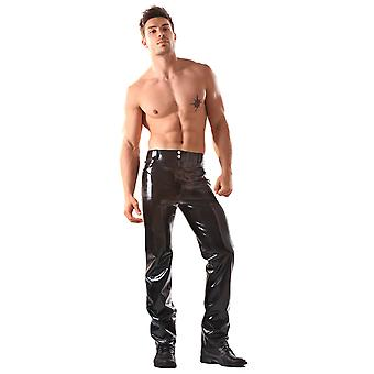 Honour Men's Sexy Trouser Jeans in Authentic Black Rubber with Fly Front Zip