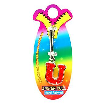 OOTB Initial U Red Hand Painted Base Metal 4.5 cm Glitter Zipper Puller