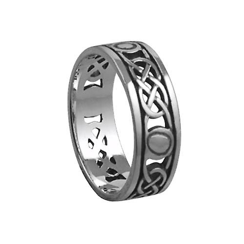 Silver oxidized 6mm pierced Celtic Wedding Ring Size M