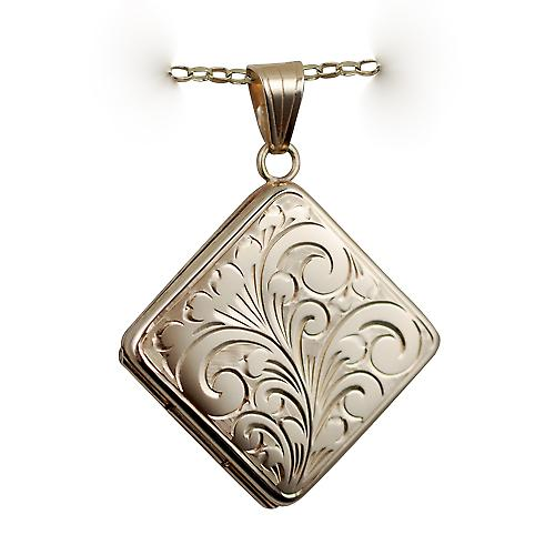 9ct Gold 22mm hand engraved flat diamond shaped Locket with a belcher chain