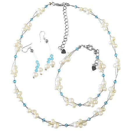 Freshwater Pearls Swarovski Aquamarine Crystals Wedding Jewelry Set