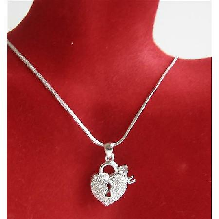 Heart Shaped Lock Key Pendant Is Sparkling Bling Embedded CZ Necklace