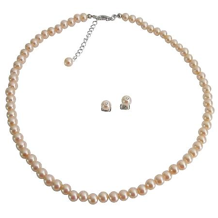 Wholesale Price For Wedding Jewelry Shop Peach Pearls Jewelry Set