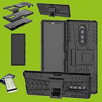 Für Sony Xperia 1 6.5 Zoll Hybrid Case 2teilig Schwarz Tasche Hülle + Hartglas