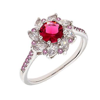 Bertha Juliet Collection Women's 18k WG Plated Red Flower Fashion Ring Size 9