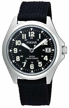 Pulsar Mens Black Canvas Strap PS9045X1 Watch