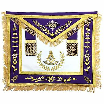 Masonic Blue Lodge Past Master Gold Machine Embroidery Purple Apron