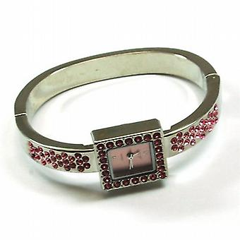 The Olivia Collection Silver Tone Cz Pink Square Dial Ladies Dress Bangle Watch