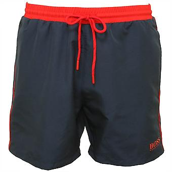 Boss Starfish Swim Shorts, Navy With Red Contrast