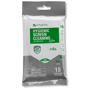 4smarts 15 pack cleaning wipes for screen - disinfectant and antibacterial