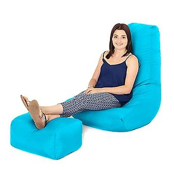 Turquoise Water Resistant Outdoor Gaming Bean Bag Highback Lounger Chair and Footstool