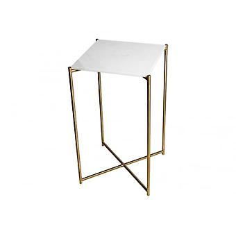 Gillmore Space White Marble Square Lamp Table With Brass Cross Base