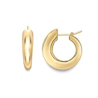 Jewelco London 18ct Gold Graduated Drop Hoop Earrings 25x20mm