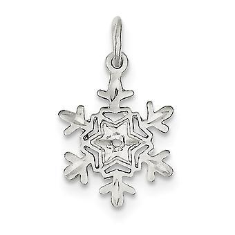 925 Sterling Silber poliert strukturierte zurück Sparkle-Cut Schneeflocke Charme - - .9 Gramm
