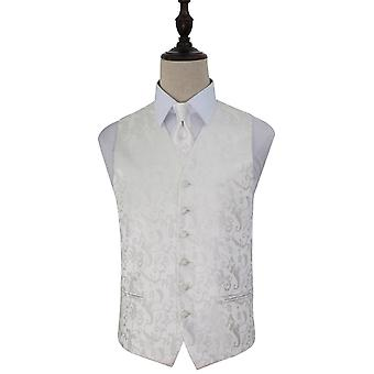 Ivory Passion Floral Patterned Wedding Waistcoat & Tie Set
