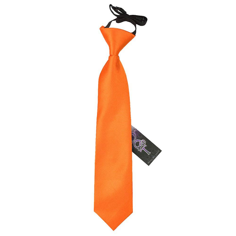 Boy's Plain Burnt Orange Satin Pre-Tied Tie (2-7 years)