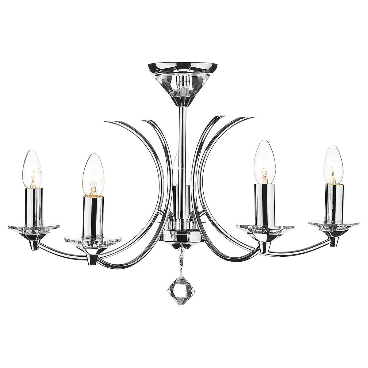 Dar MED0550 Medusa 5 Arm Ceiling Pendant With Crystal - Dual Mount