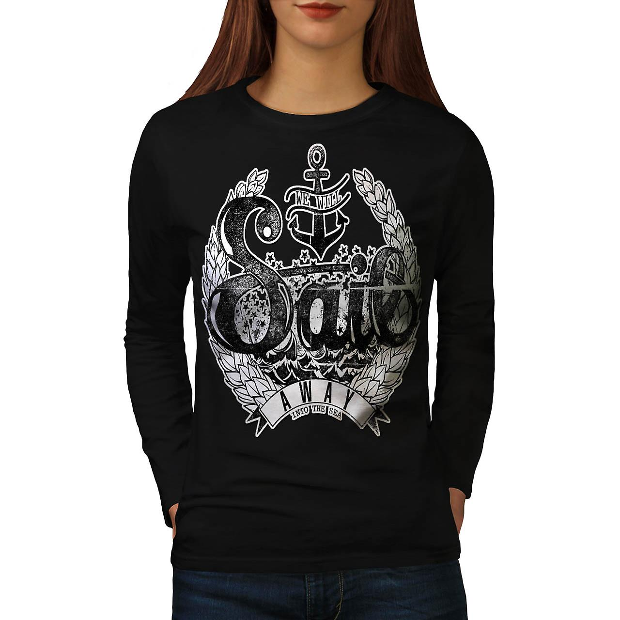 Sail Away Into Sea Boat Cruise Women Black Long Sleeve T-shirt | Wellcoda
