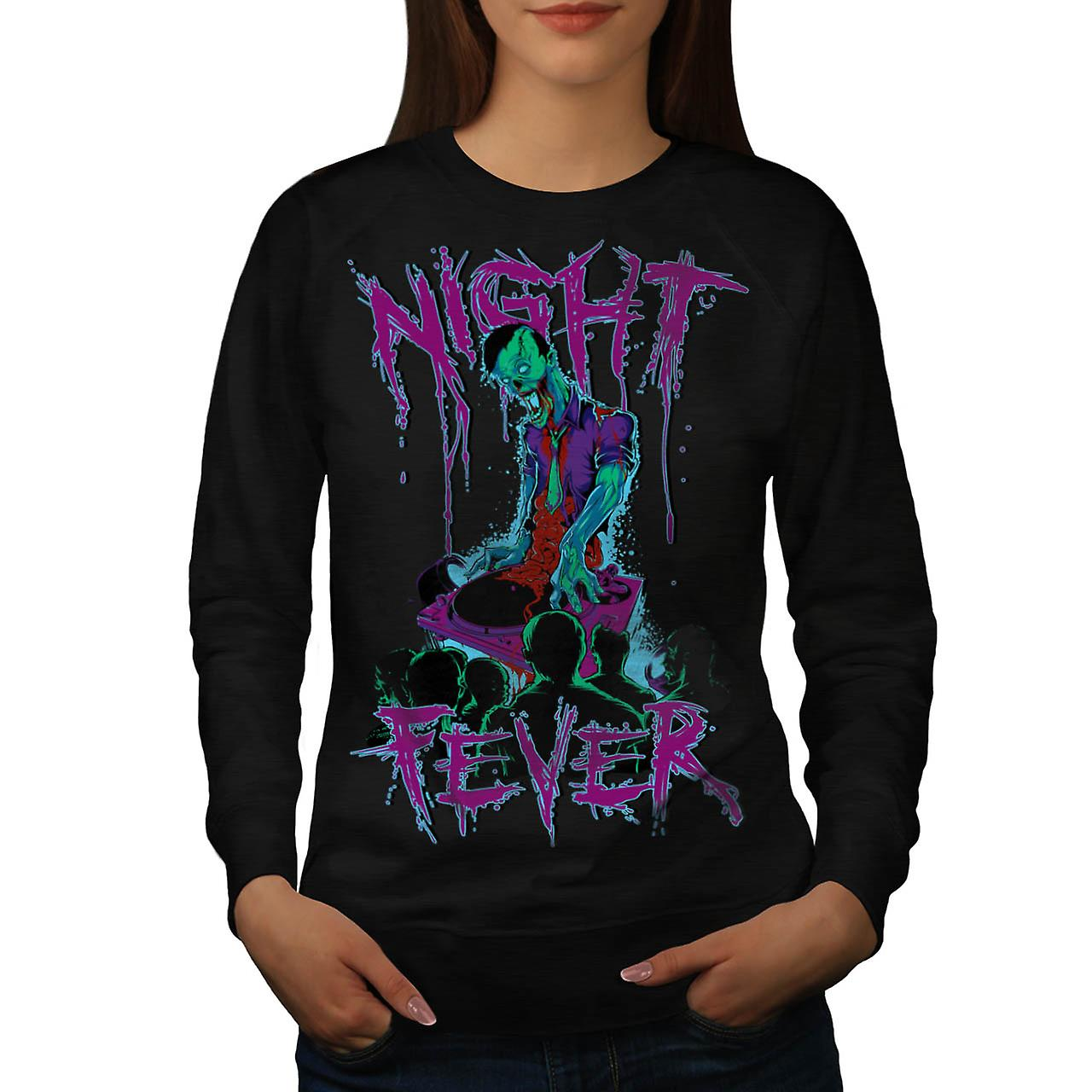 DJ Zombie Night Fever Undead Rip Women Black Sweatshirt | Wellcoda