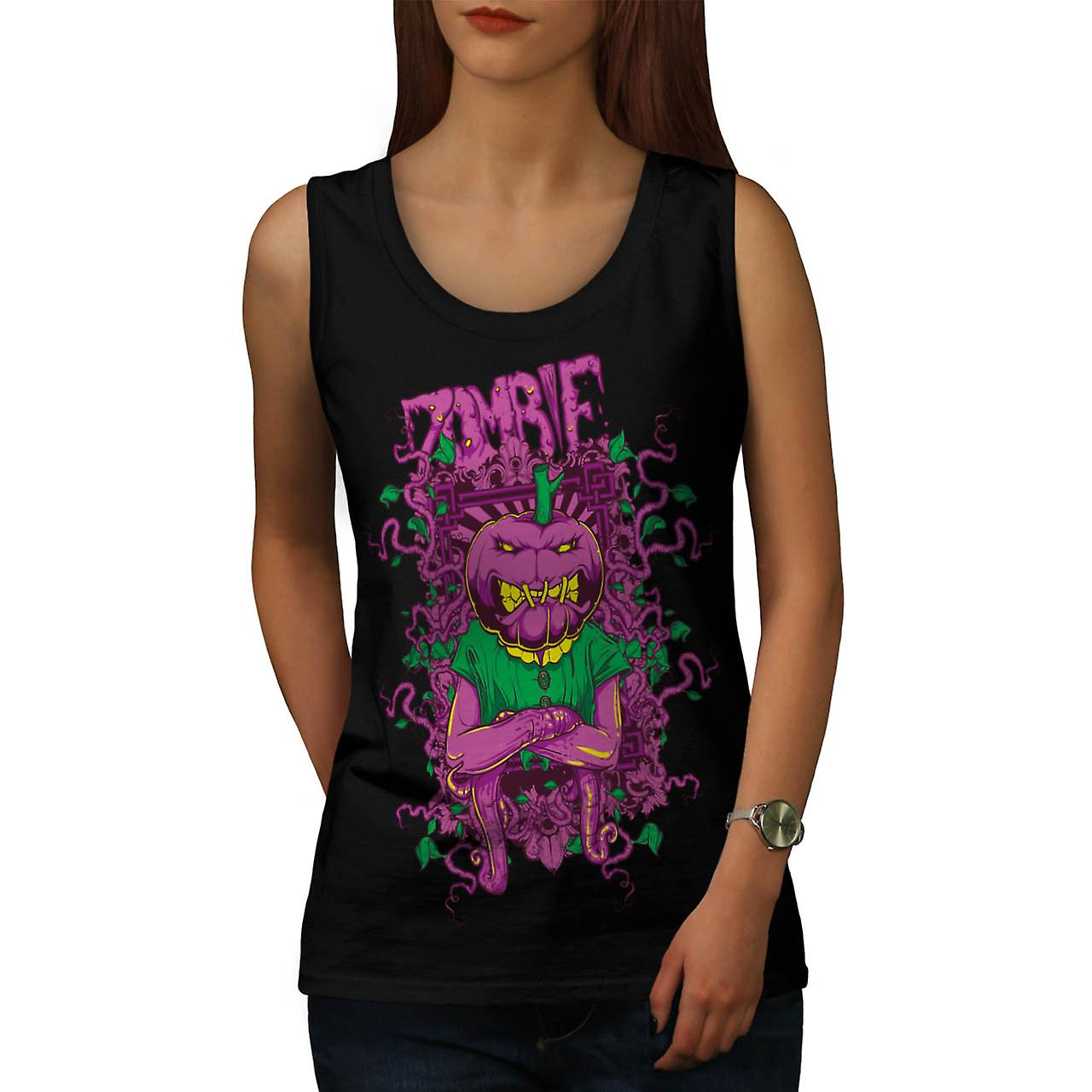 Zombie Pumpkin Ghost Head Mask Women Black Tank Top | Wellcoda