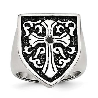 Stainless Steel Polished Cross With Black Diamond Antiqued Shield Ring - Ring Size: 9 to 12