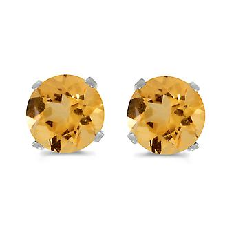 5 mm natuurlijke ronde Citrine Earrings Stud Earrings instellen in 14 k White Gold