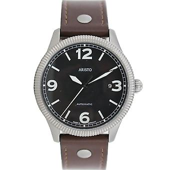 Aristo men's watch automatic watch stainless steel 3 H 136 leather