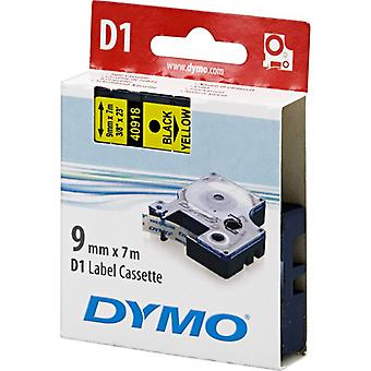 DYMO D1 tape standard 9 mm, sort på gul, 7 m rulle