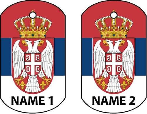 Personalised Serbia Dog Tag Car Air Freshener