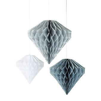 Talking Tables Diamond Honeycombs Silver / Grey / White Christmas Decorations x 3