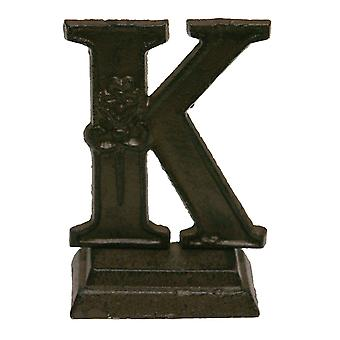 Iron Ornate Standing Monogram Letter K Tabletop Figurine