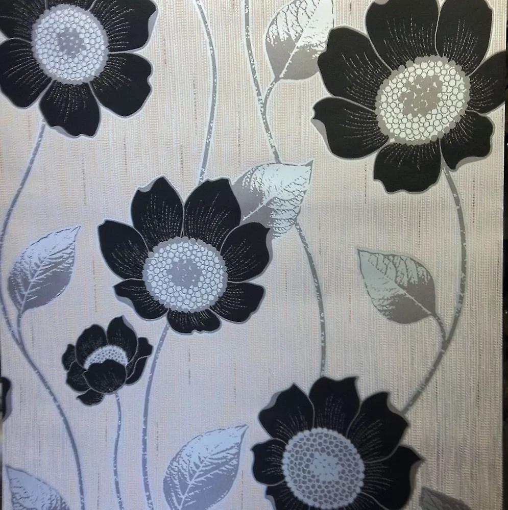 Black Silver Floral Flowers Design Wallpaper Feature Wall