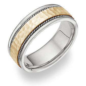 Tofarvet børstet hamret bryllup Band Ring i 14K guld
