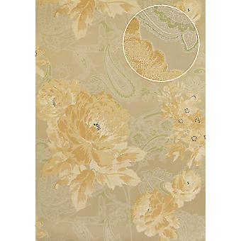 Flowers wallpaper Atlas TEM-5109-3 non-woven wallpaper structured with Paisley Muster shimmering beige pastel orange white pale green 7,035 m2