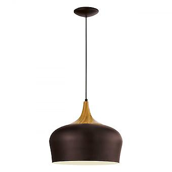 Eglo OBREGON Oak And Chocolate Brown Pearl Pendant Light