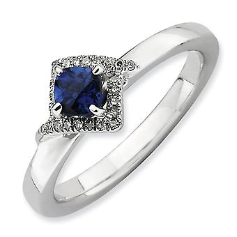 2.5mm Sterling Silver Stackable Expressions Polished Created Sapphire and Diamond Ring - Ring Size: 5 to 10