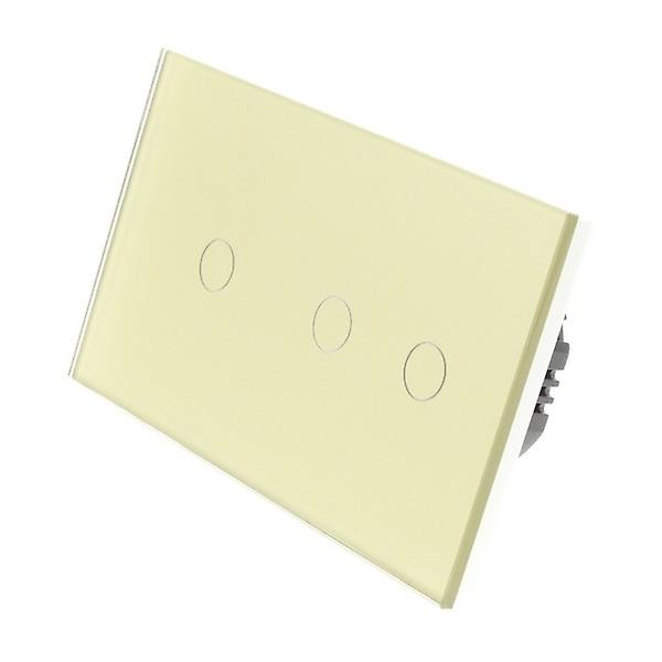 I LumoS or Glass Double Panel 3 Gang 2 Way WIFI 4G Remote Touch LED lumière Switch