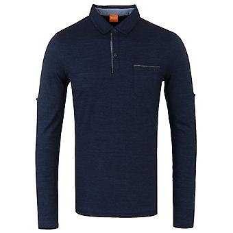 BOSS Orange Patcherman Heathered Navy Regular-fit polo shirt