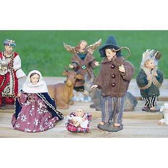 Christmas Nativity figures Alpine fabric clothing 15-teilig 13 cm