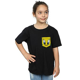 Looney Tunes Girls Tweety Pie Face Faux Pocket T-Shirt