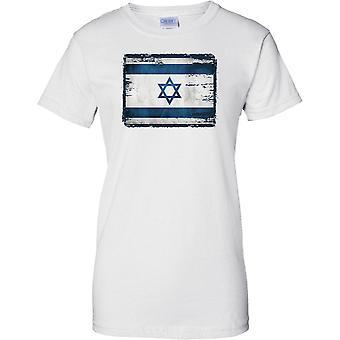 Israel Grunge Grunge Effect Flag - Ladies T Shirt