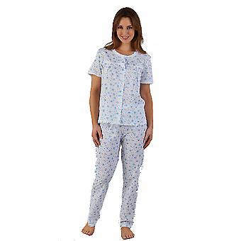 Slenderella Floral Print Blue Pleated Front Pyjama Set PJ5202